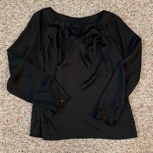 Women's black silky dress shirt
